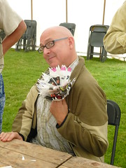 Nigel Leach with paper corsage