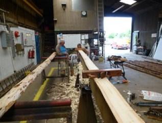 checking wooden ladder poles