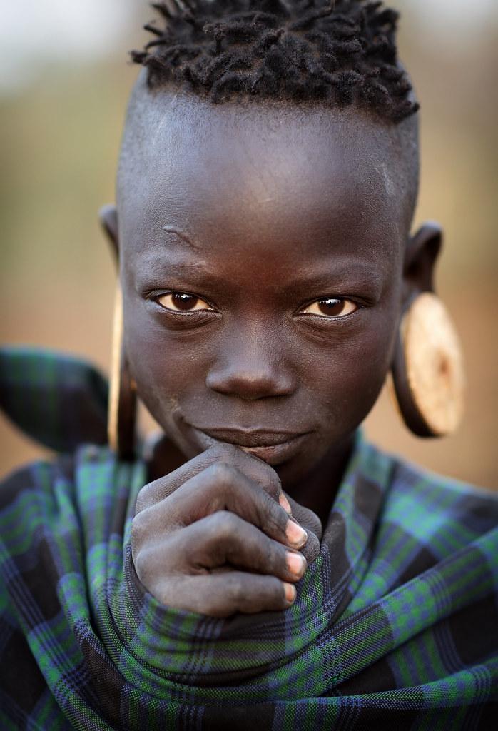 Ethiopian Tribes Beautiful Mursi Girl Portrait Of A