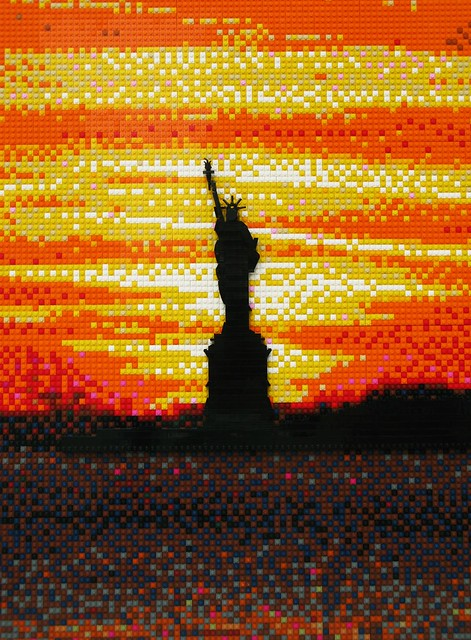 LEGO Statue of Liberty sunset mosaic by Joe Perez on Flickr