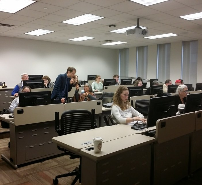 The hands-on section of the event in room 309 at Lincoln Center