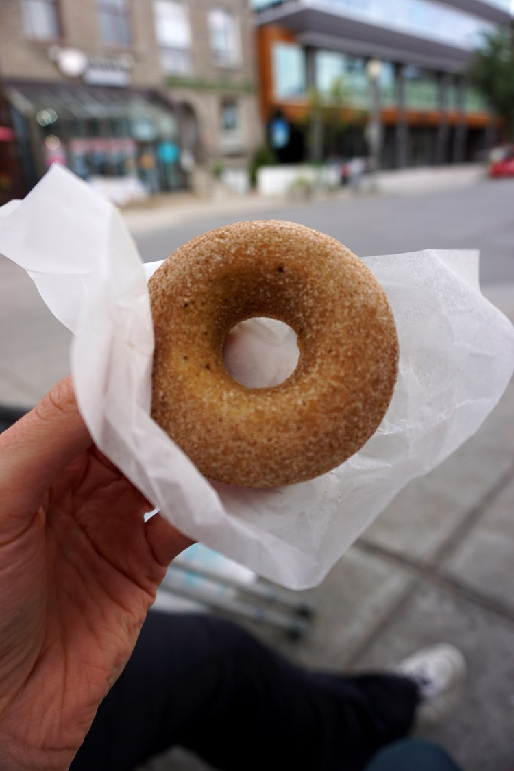 Gluten free doughnut from Petit Lapin Bakery - gluten free bakery in Montreal, Quebec, Canada