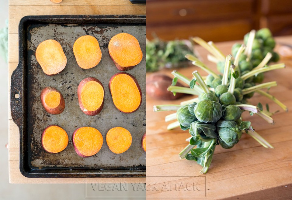 Roasted Sweet Potatoes and Brussels Sprouts on Stalk