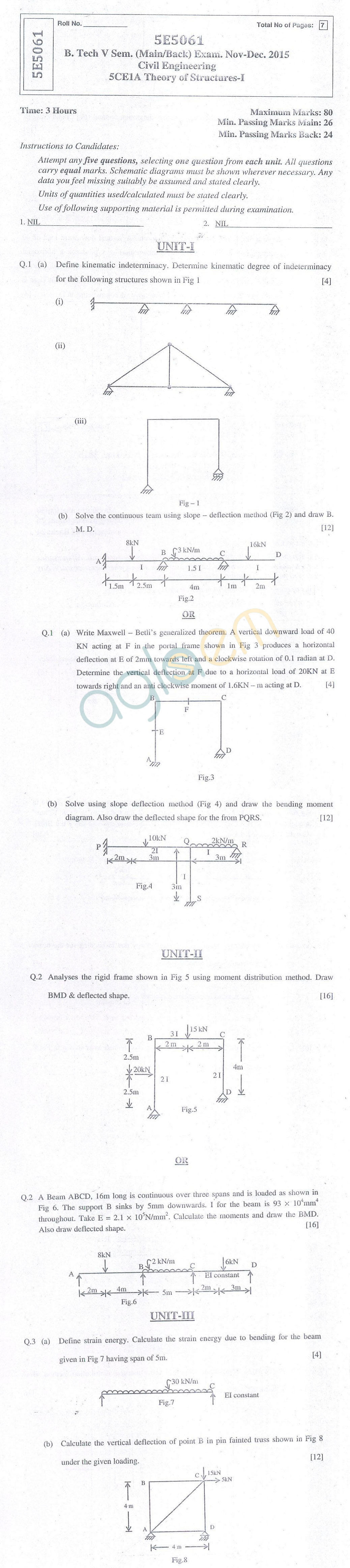 Rtu Question Papers 5 Semester Ce Theory Of Structure I Aglasem