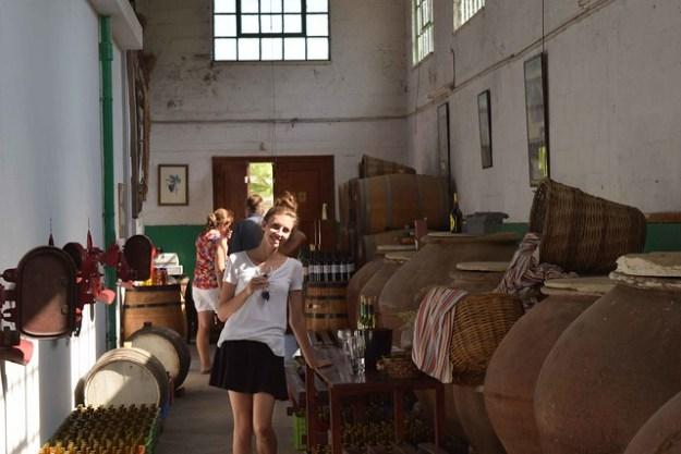 Briana With Commandaria Wine At Karseras Winery Dhoros