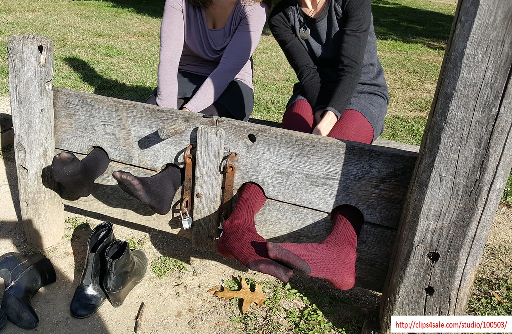 Feet In Stocks For Tights Tickling Two Girls Locked In