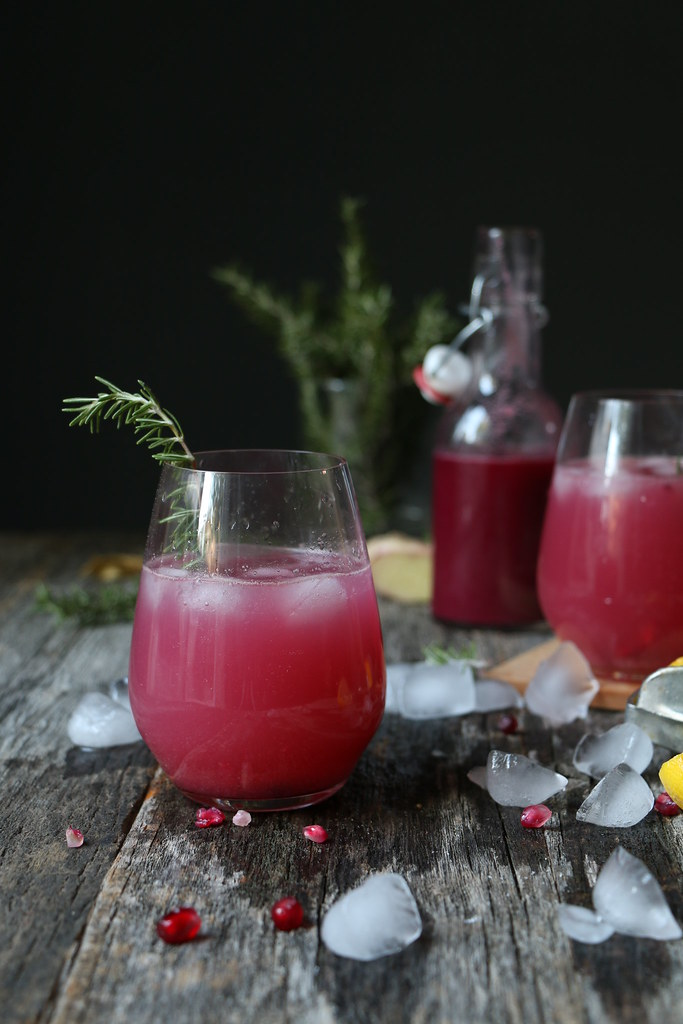 Pomegranate-Ginger Syrup- Pomegranate Vodka Fizz