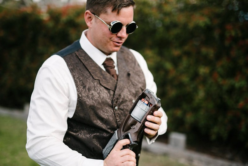 Steampunk wedding couples: don't forget to have a Nerf gun duel!