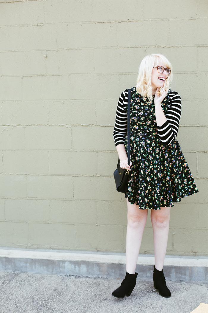 writes like a girl floral dress striped shirt8