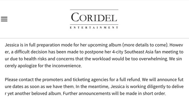 Jessica Jung Fanmeet in Singapore - Postpone Notice