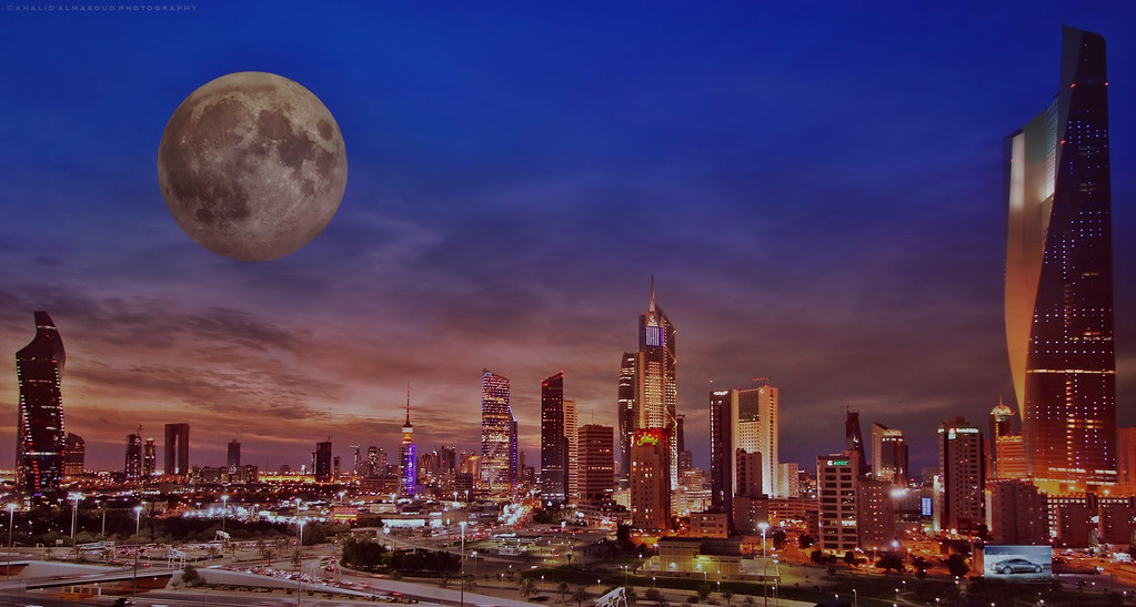 Full Moon Over Kuwait City The Capital Of Kuwait In