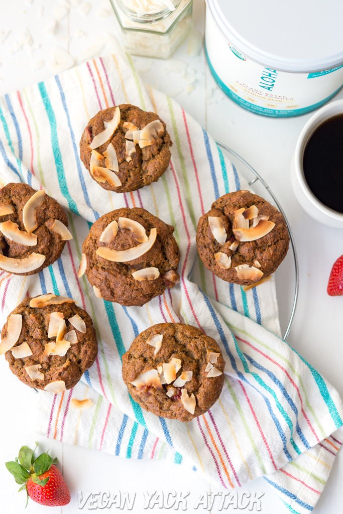Strawberry Banana Nut Protein Muffins bursting with fruity flavors, filled with walnuts and plant-based protein. The perfect breakfast! #vegan
