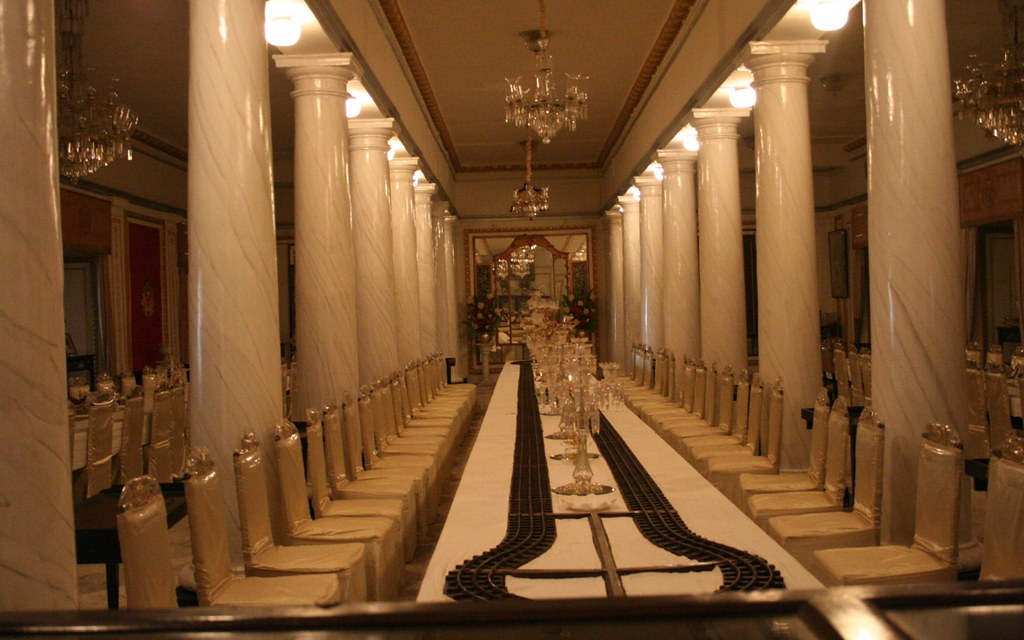 Toy Train Track At The Dinner Table Of Scindia Palace Gwa