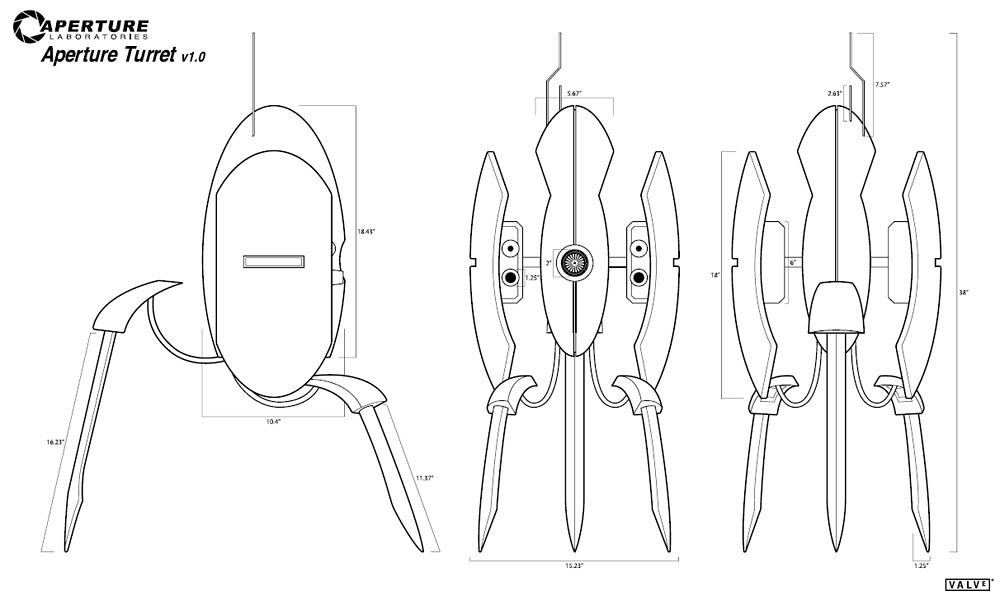 Portal 2 Turret Coloring Pages