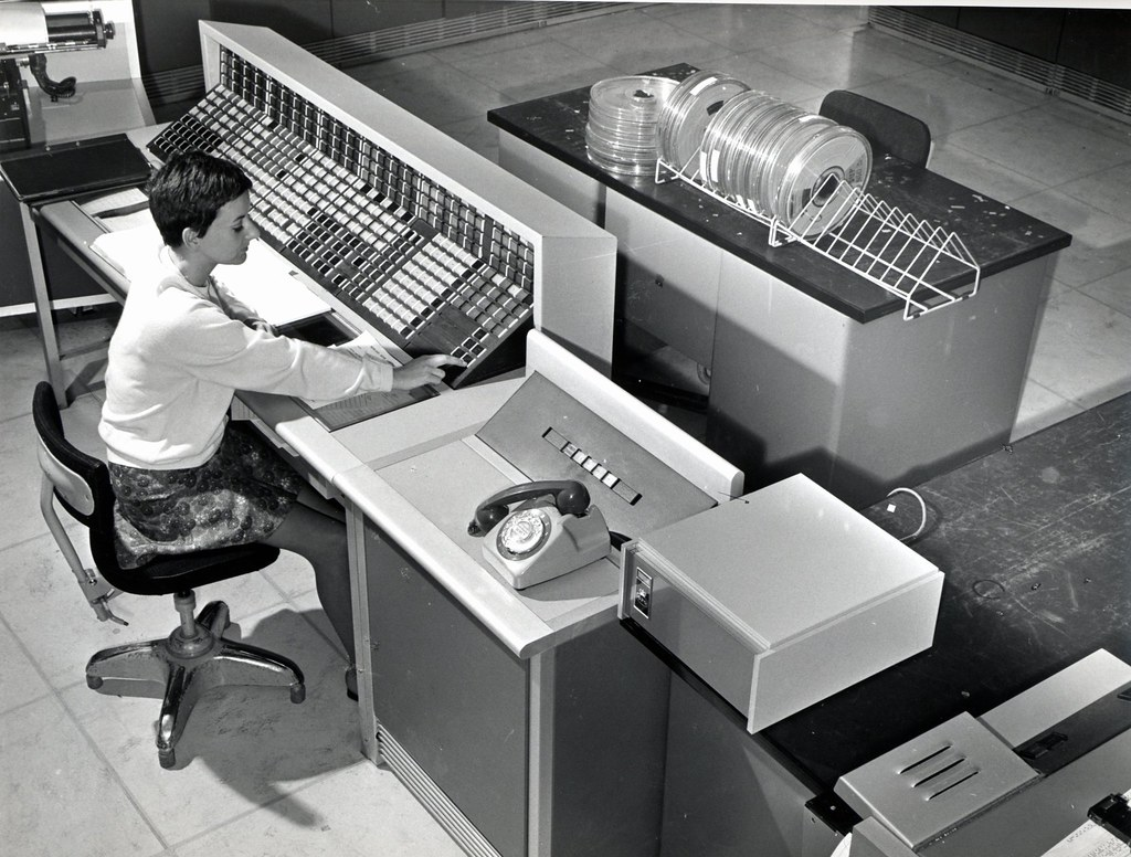 Brent Computer Centre Woman Operating Computer 1965