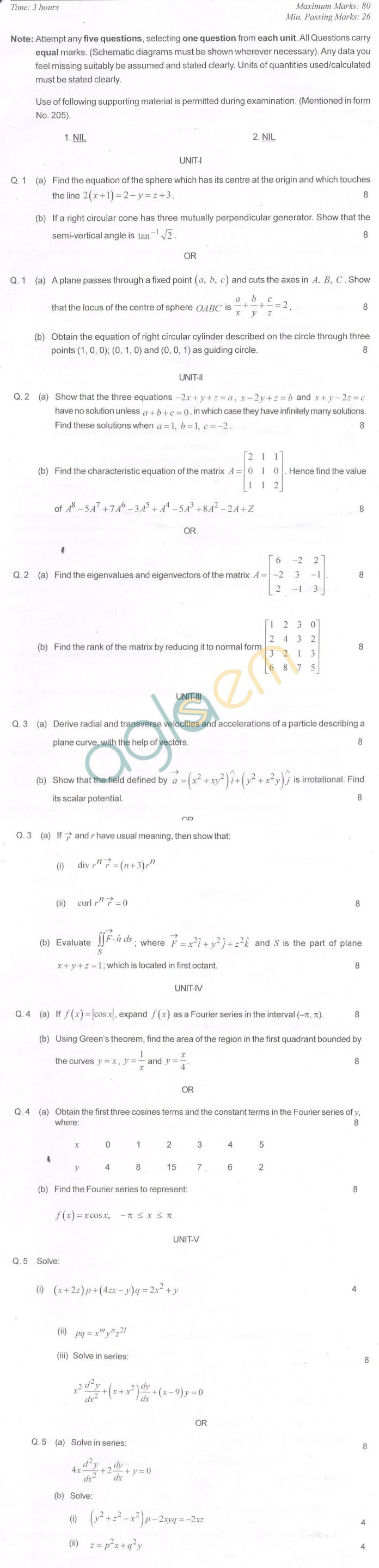 RTU: Question Papers – 2 Semester – All Branches – Engineering Mathematics-II | AglaSem