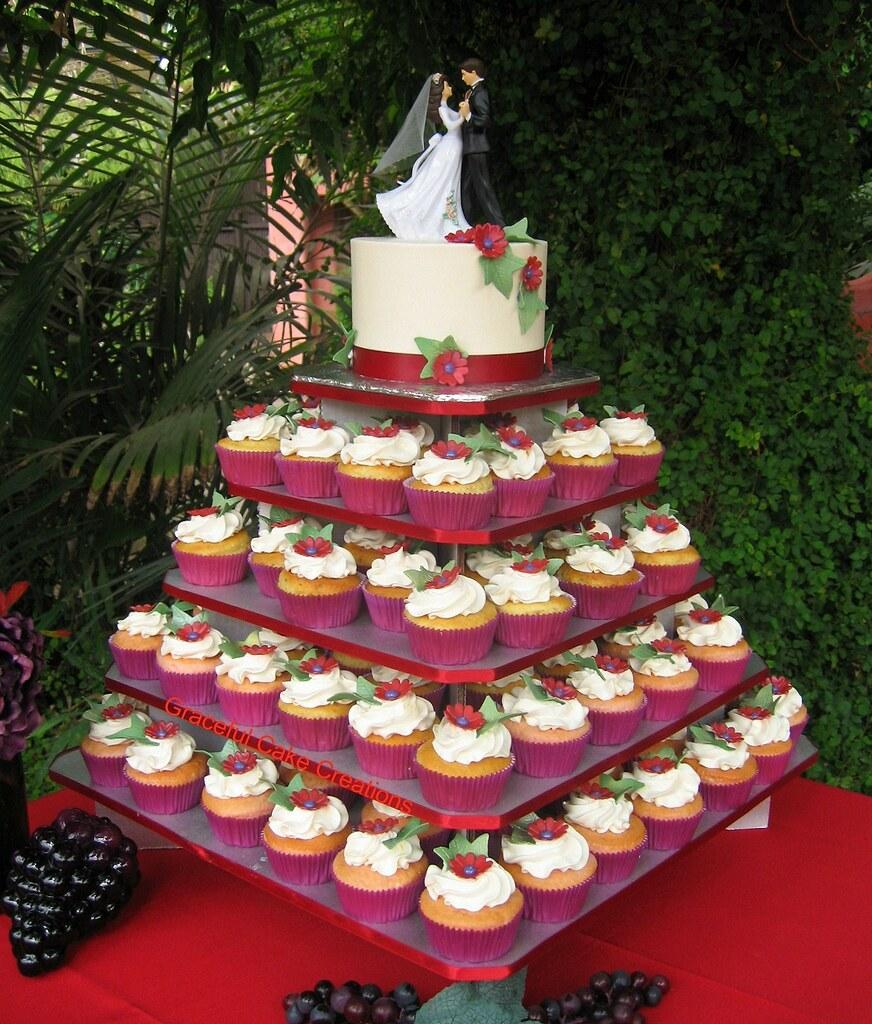 Elegant Burgundy And Red Cupcake Wedding Grace Tari Flickr