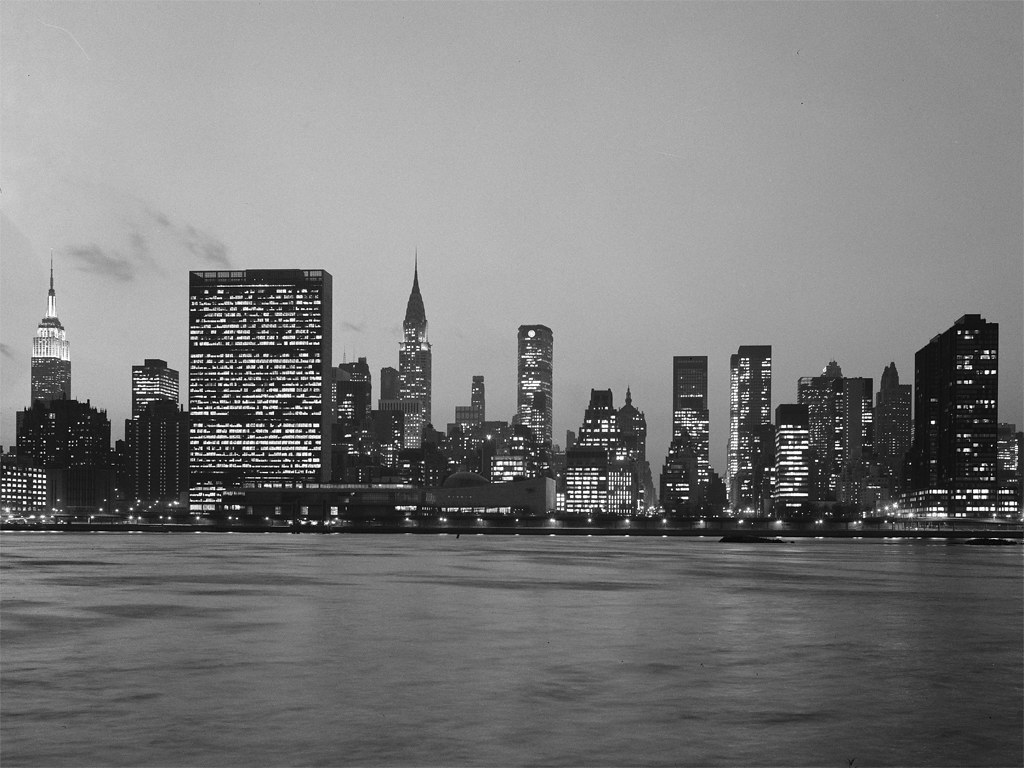 New York Skyline At Night Ca 1967 MCNY Collections