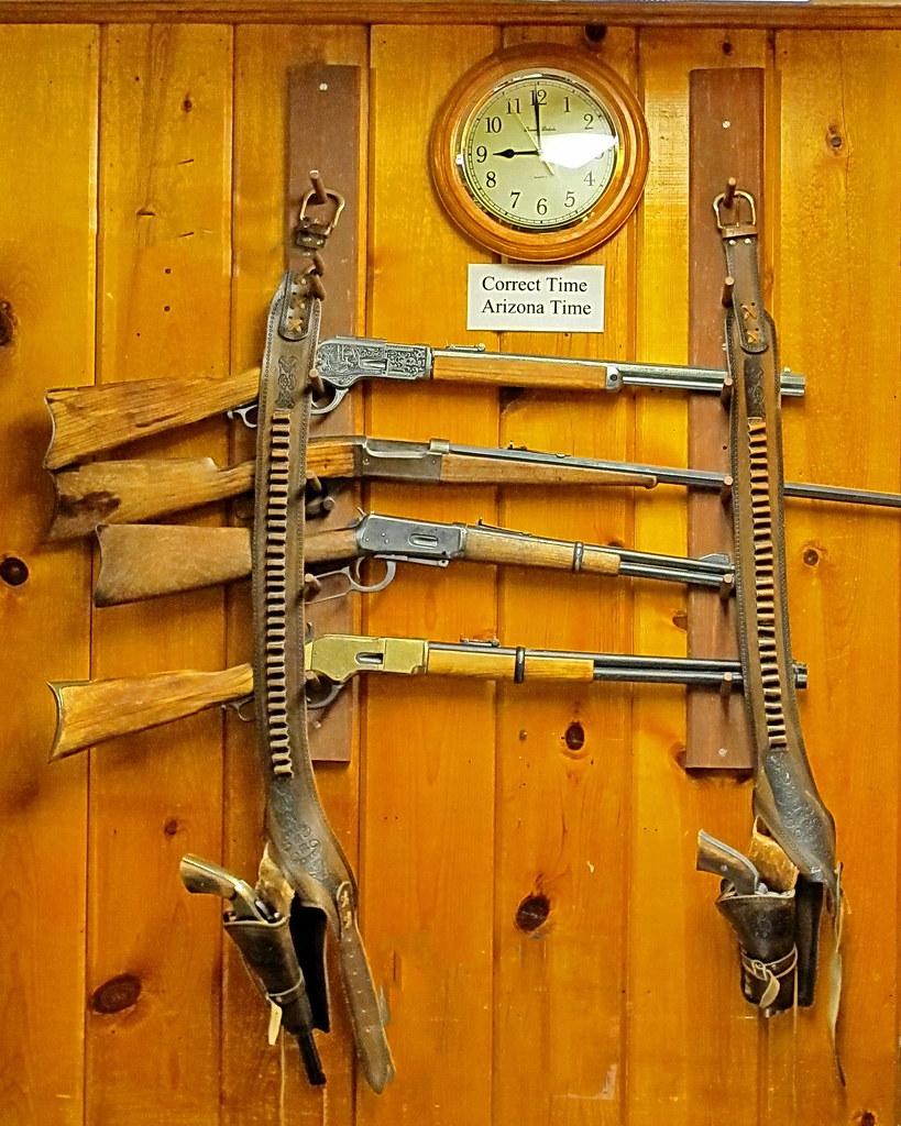 Jacob Lake Inn Rifle Rack This Gun Display Is Behind
