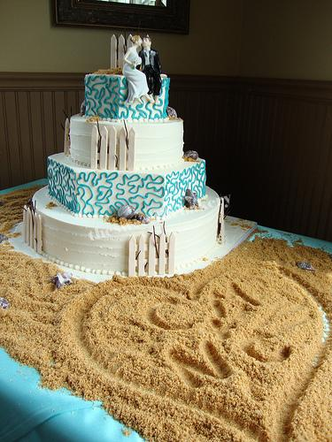 Shore Themed Wedding Cake The Striking Blue Lace Details
