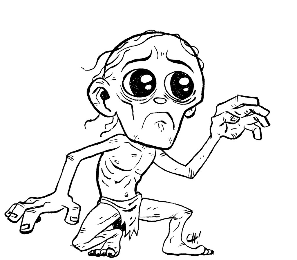lord of the rings coloring pages gollum pencils by - Hobbit Dwarves Coloring Pages