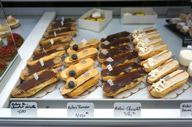 Gluten free eclairs selection from Helmut Newcake in Paris, France