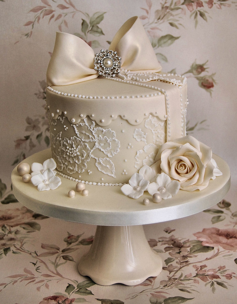 Lace And Pearls Hat Box Style Cake Inspired By Tracey