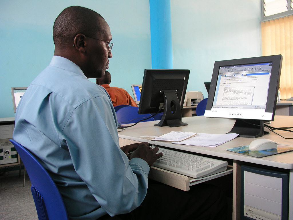 Using A Computer In An Internet Cafe