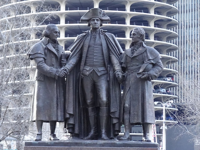 Robert Morris, George Washington and Haym Salomon Statue