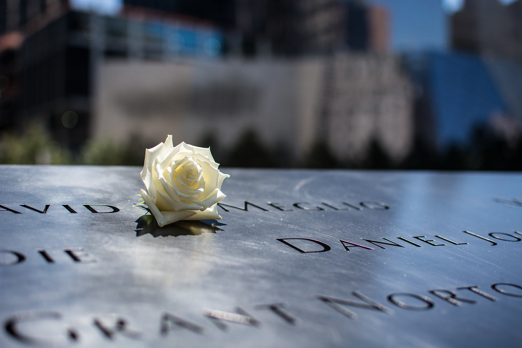 Memorial Rose Roses Placed On Names At The 9 11 Memorial