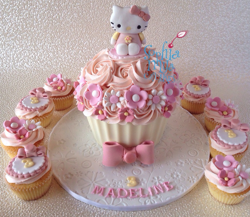 Hello Kitty Inspired Giant Cupcake And Matching Cupcakes