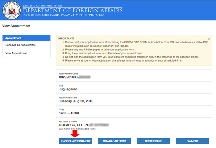 Cancel Passport Appointment Online