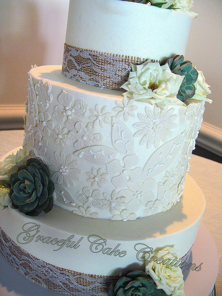Elegant Rustic Chic Wedding Cake With Lace Applique Flickr