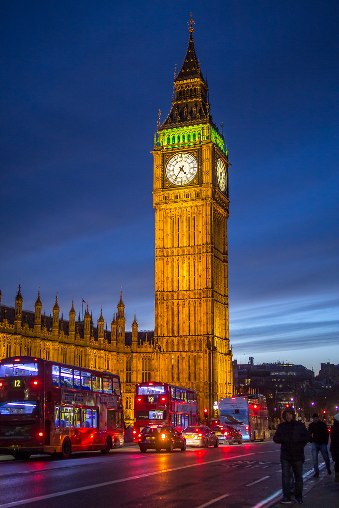 Big Ben Just After The Sun Sets During Christmas Eve In