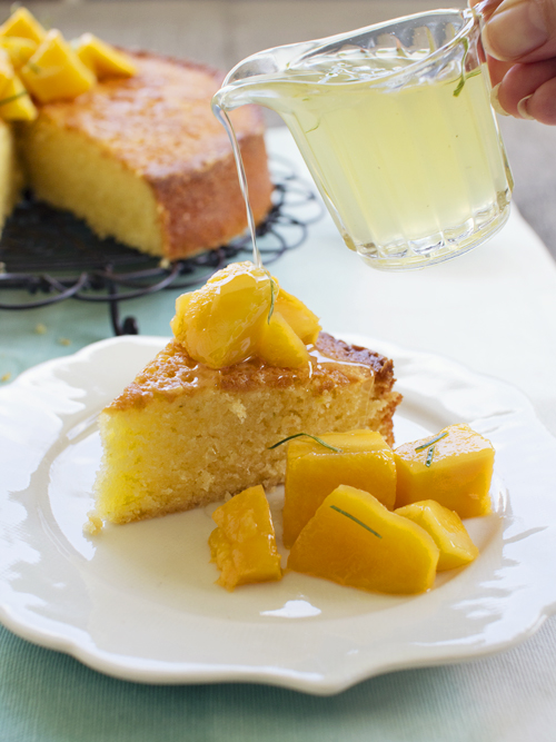 sticky lime & coconut cake with mango