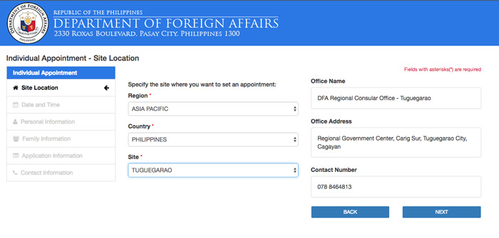 Passport Appointment - Site Location