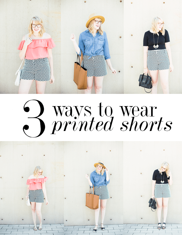 three ways to wear patterned shorts