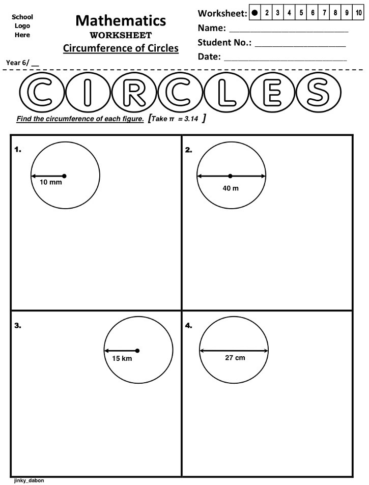 Grade 6 Circumference Of Circles Worksheet