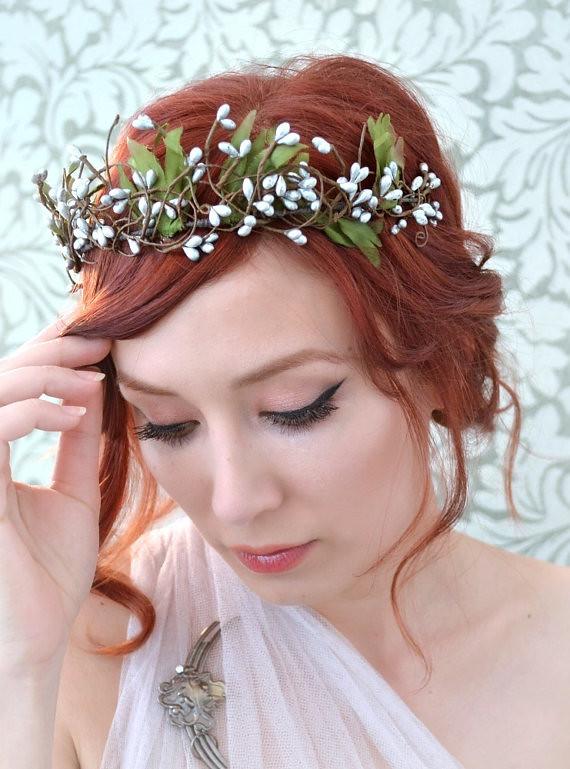 Bridal Hair Crown Silver Woodland Head Piece Boho Tiara