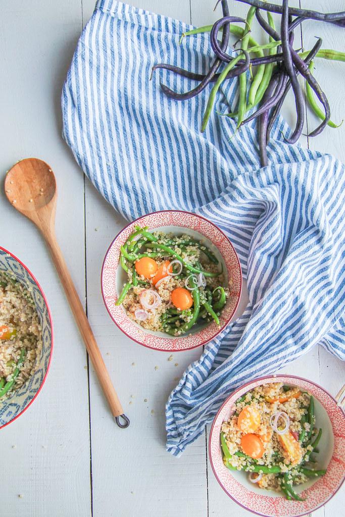 Salade de haricots verts, quinoa et tomates {sans gluten - vegan}