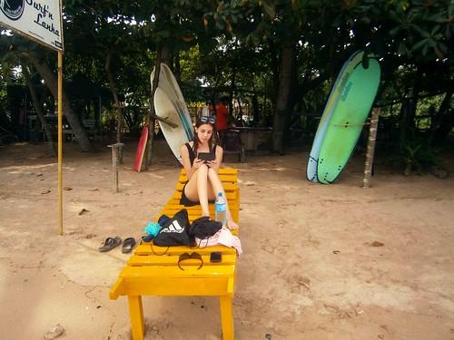 Briana Reading at Weligama Beach