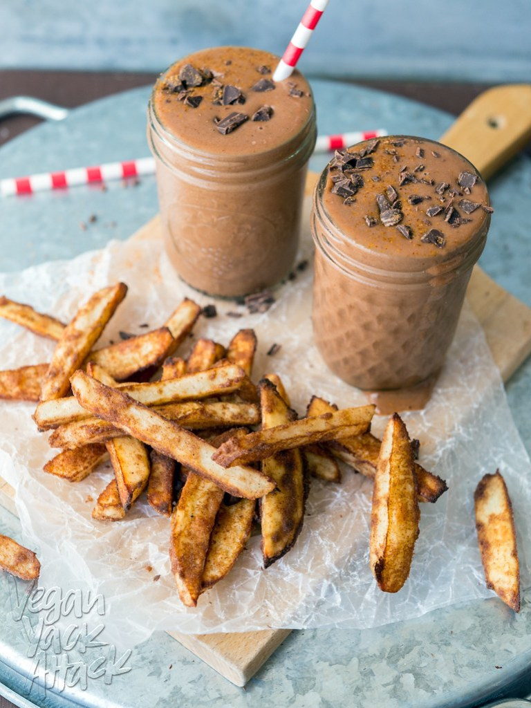 Baked cinnamon fries paired with a frosty Spicy Chocolate Shake! A delicious and surprising treat. #glutenfree #vegan #soyfree