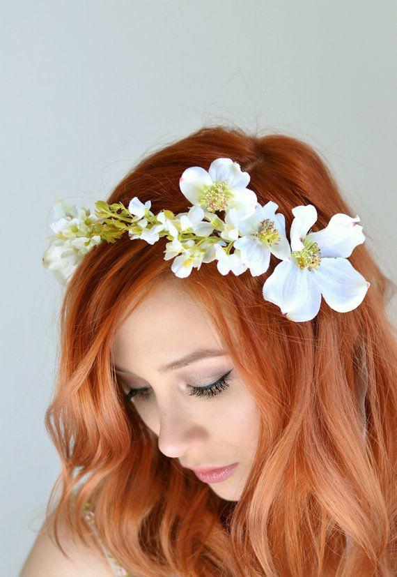 Wedding Headband Dogwood Crown White Flower Crown Brida