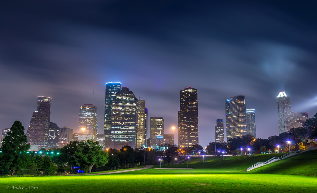 Houston Skyline Buffalo Bayou Clouds Houston Texas Flickr