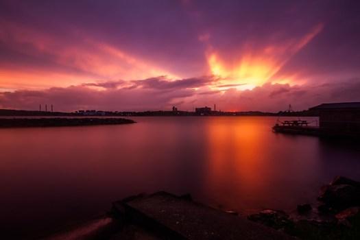 Solnedgång över Karlshamn