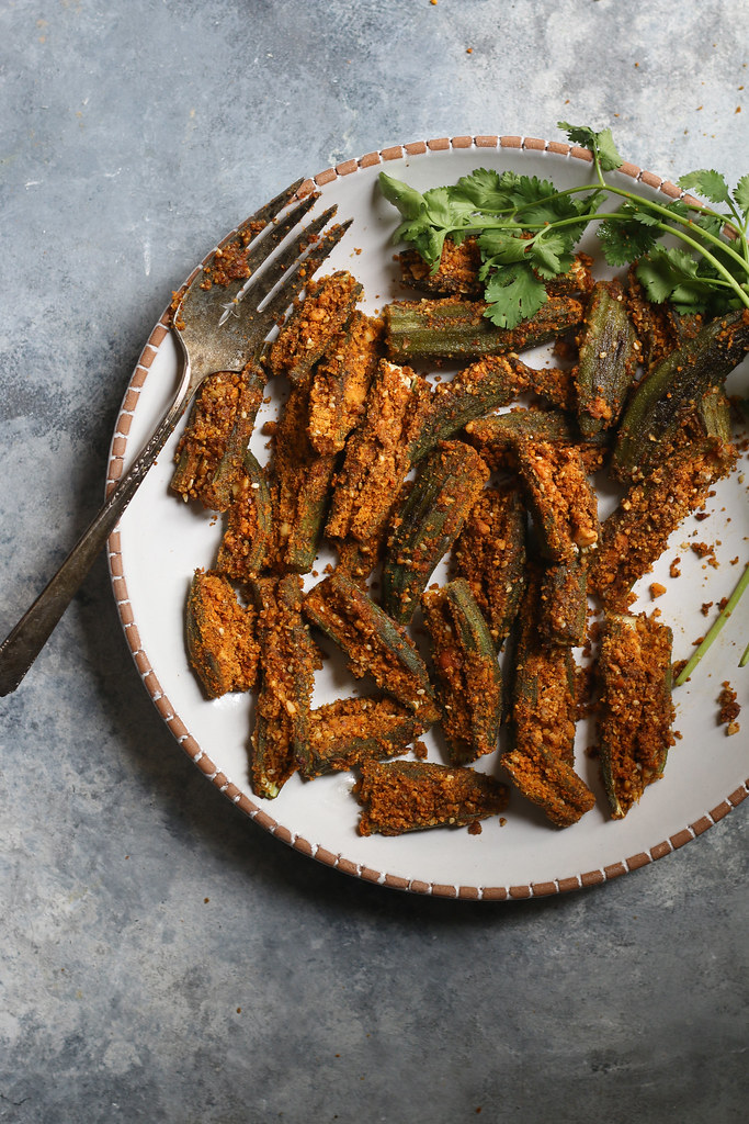 Baked Okra stuffed with Spiced Peanut Mix(easiest recipe) |foodfashionparty|