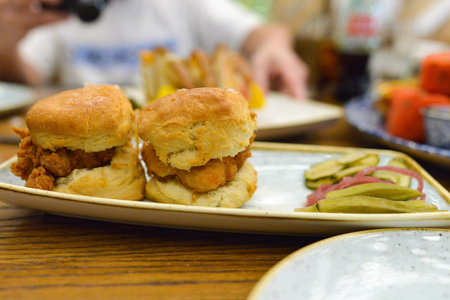 Mama's Chicken Biscuits free range fried chicken, pepper jelly, house pickles, house-made buttermilk biscuit