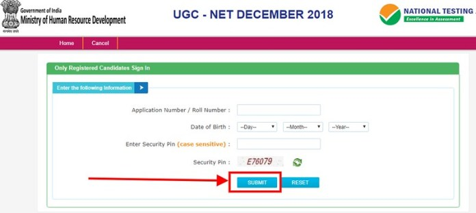 UGC NET Dec Result 2018 - Login page