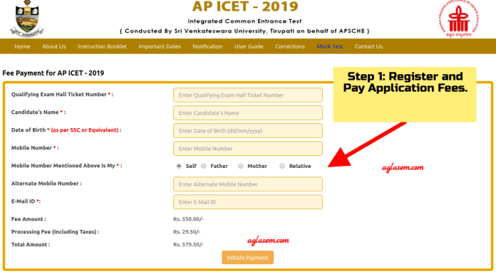 AP ICET 2019 Fee Payment and Registration