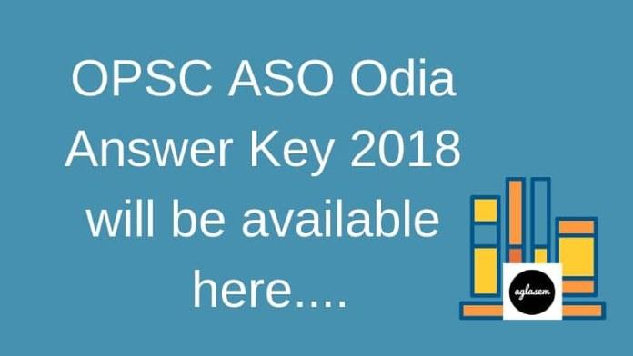 OPSC ASO Answer key 2018 - Odia